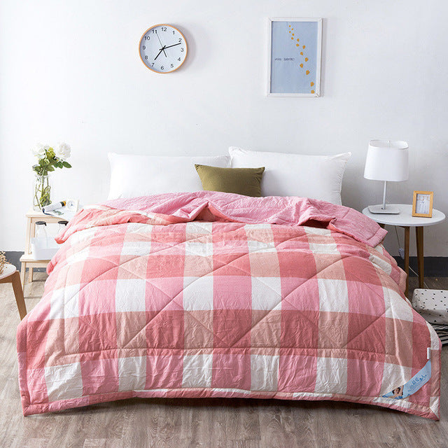 Japanese Washed Pink Plaid Cotton Quilt Blanket