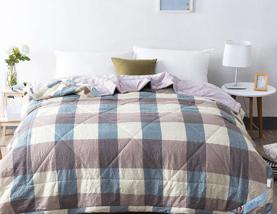 Japanese Washed Blue Brown Cream Plaid Cotton Quilt Blanket