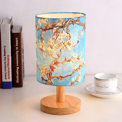 Blue sky The Japanese Nordic floral bedroom lamp