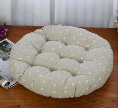 Cream White Polka Dots Round cotton tatami mat cushions