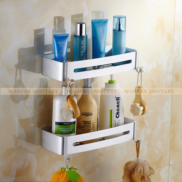 Two Tier Metal Shower Bathroom Shelves