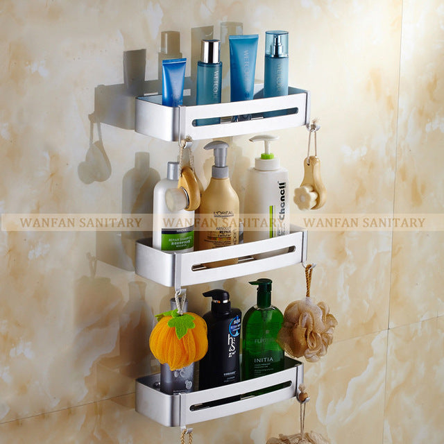 Three Tier Metal Shower Bathroom Shelves
