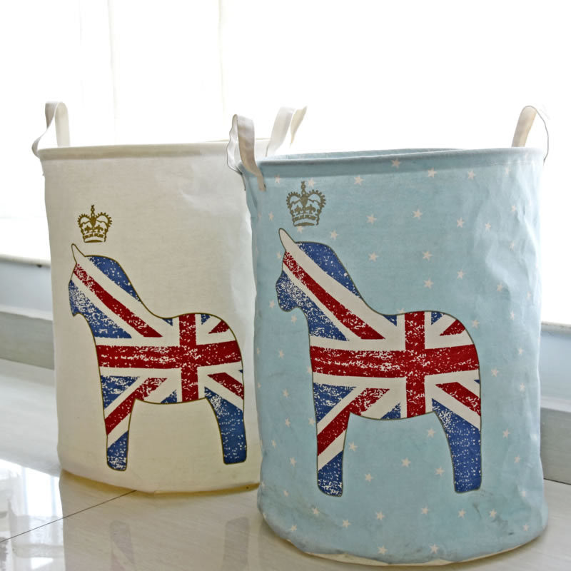 Union Jack Flag Print Waterproof Canvas Laundry Basket