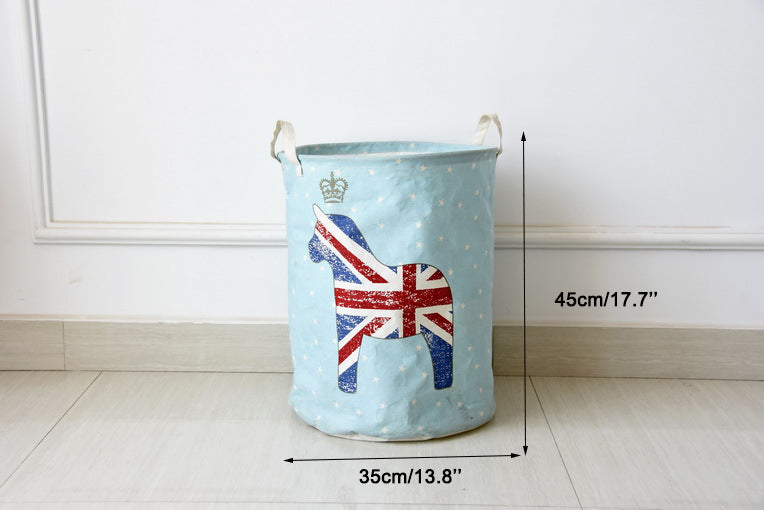 Sky Blue Union Jack Flag Print Waterproof Canvas Laundry Basket