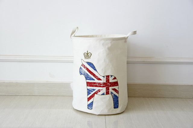 Cream Union Jack Flag Print Waterproof Canvas Laundry Basket
