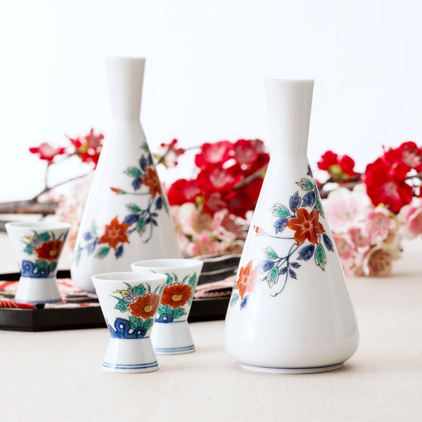 Japanese hand-painted under-glazed flowers sake wine pot