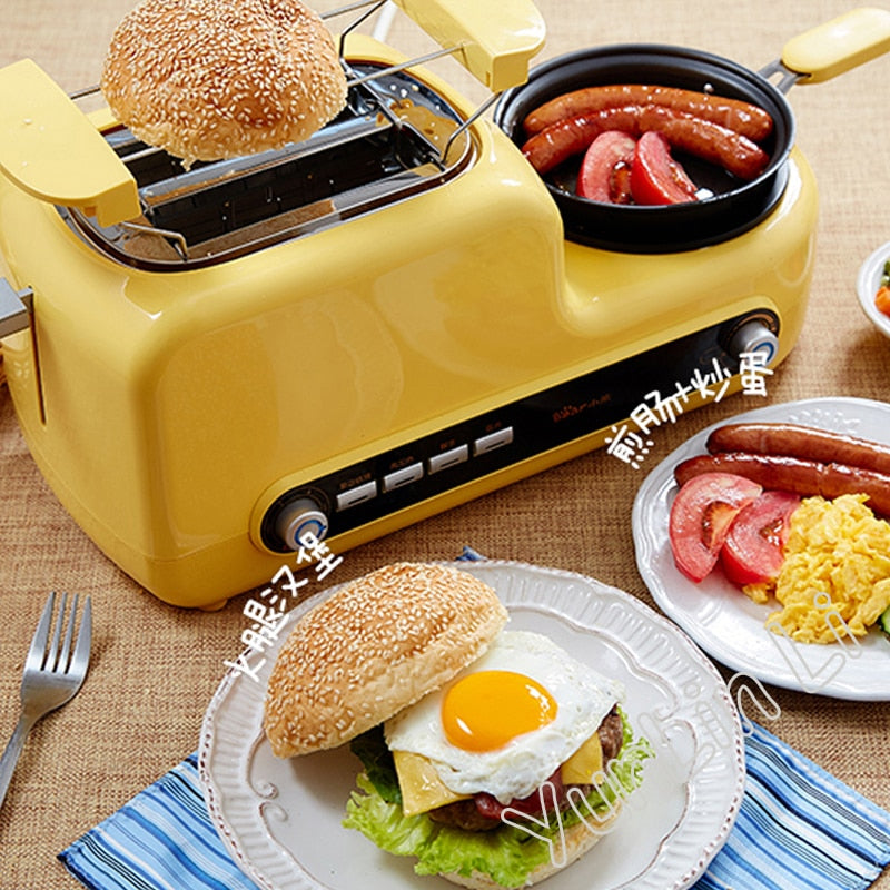Japanese Yellow Multi-Functional Breakfast Machine Japan Egg Cooker Bacon Fryer Sandwich Toaster Kitchen Electrical Appliance Style C