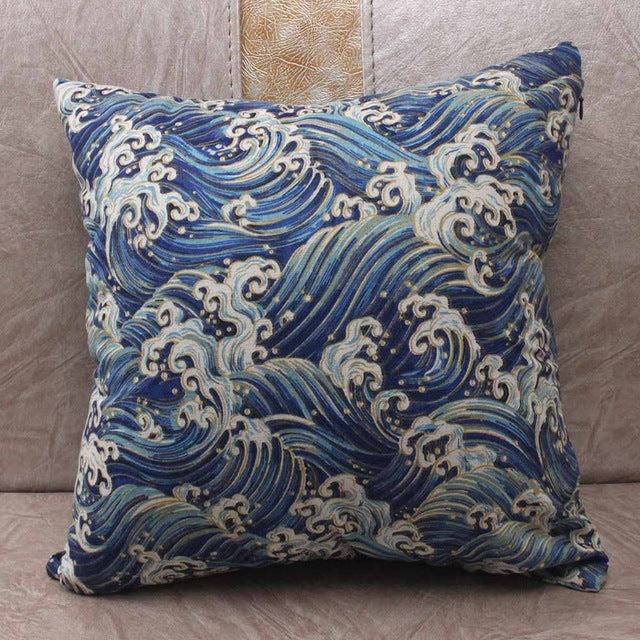 Japanese Sea Wave Dark Blue Cushion Covers Japan Pillow Cover
