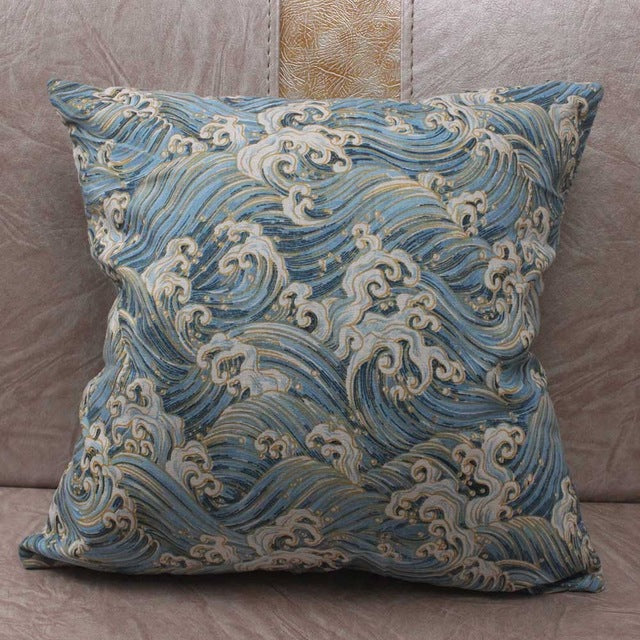 Japanese Sea Wave Light Blue Cushion Covers Japan Pillow Cover