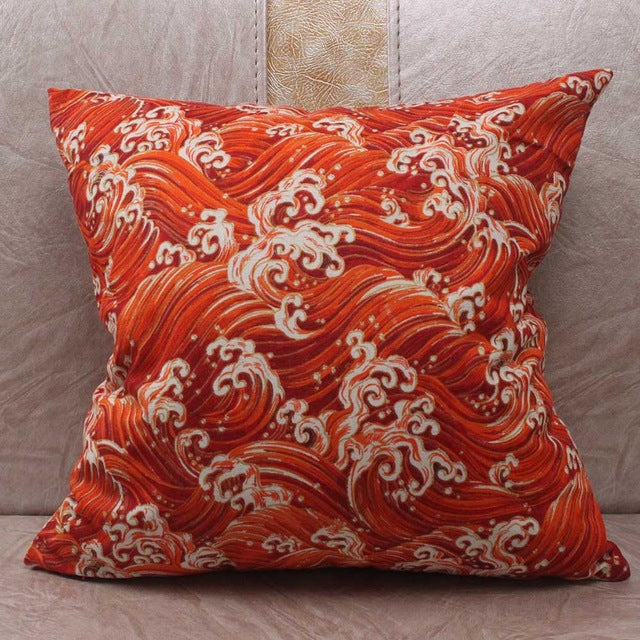 Japanese Sea Wave Orange Cushion Covers Japan Pillow Cover