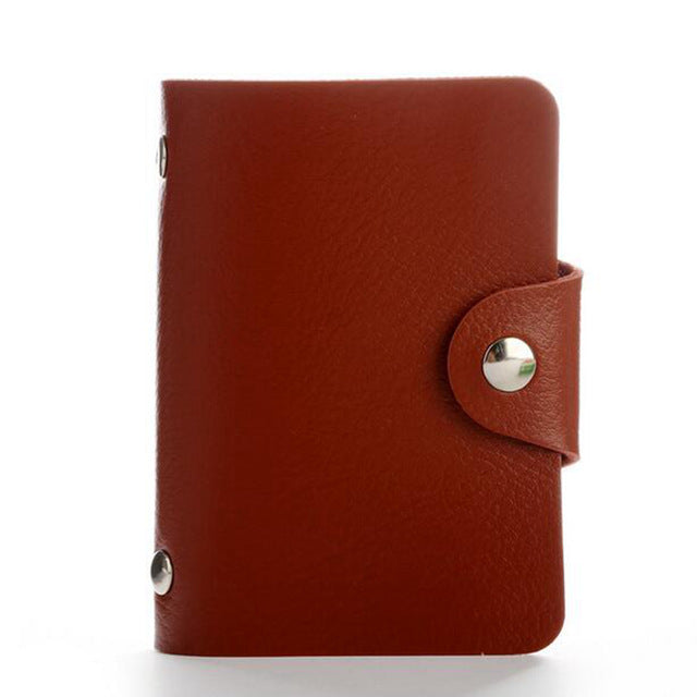 Brown PU Leather Card Wallet Credit Card Business Card Passport Card Bag ID Wallets Fashion Style E