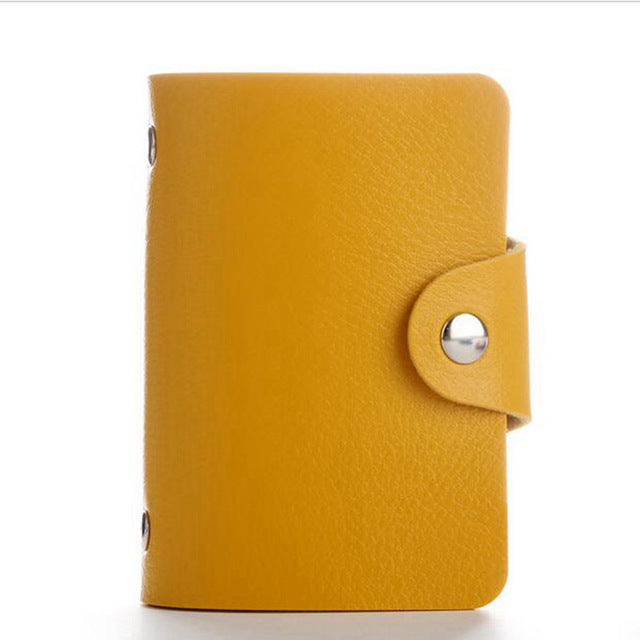 Yellow PU Leather Card Wallet Credit Card Business Card Passport Card Bag ID Wallets Fashion Style H