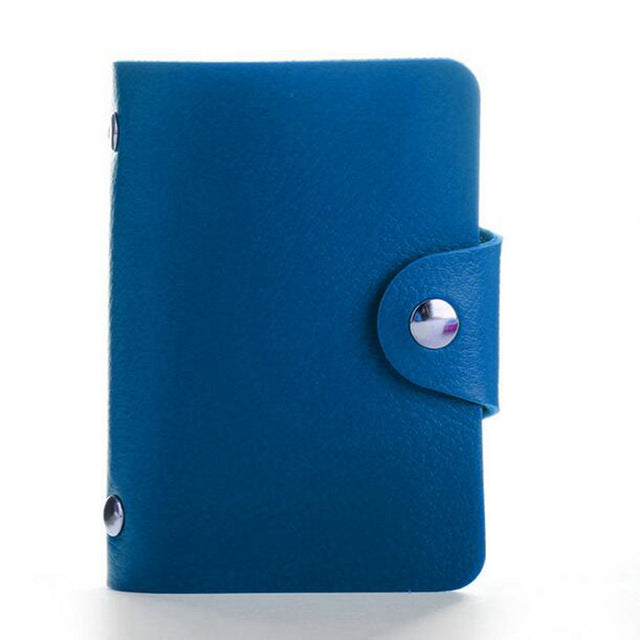 Blue PU Leather Card Wallet Credit Card Business Card Passport Card Bag ID Wallets Fashion Style Q
