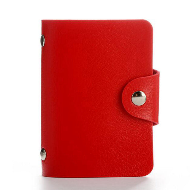Red PU Leather Card Wallet Credit Card Business Card Passport Card Bag ID Wallets Fashion Style A