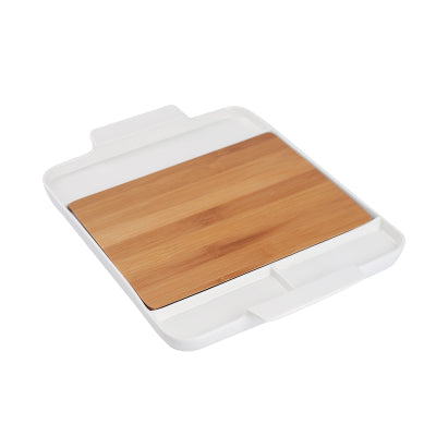 Japanese Rectangle Ceramic Dining Serving Trays with Bamboo Cutting Boards Handles Dinnerware Sets Ac