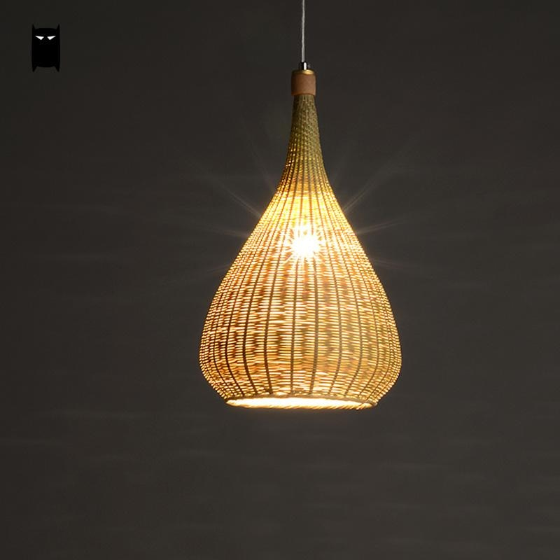 Original Bamboo Wicker Rattan Lampshade Hand-Woven Craft Round Funnel Pendant Lamp Light Fixture Asian Rustic Japanese Lamp Design Japan Home Decor Lighting Fixtures Accessories