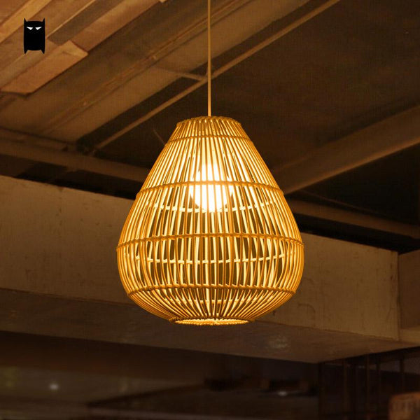 Wicker Rattan Drip Shade Pendant Light Fixture Rustic Asian Country Japanese Creative Hanging Lamp Luminaria Dining Table Room Japan Home Decor Lighting Accessories