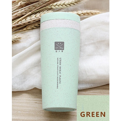 Green Portable 300ml Thermos Bottle Healthy Plastic Wheat Fiber Cup Double Layer Thermal Mug Office Coffee Tea Water Bottle Travel Mug Thermos Flask
