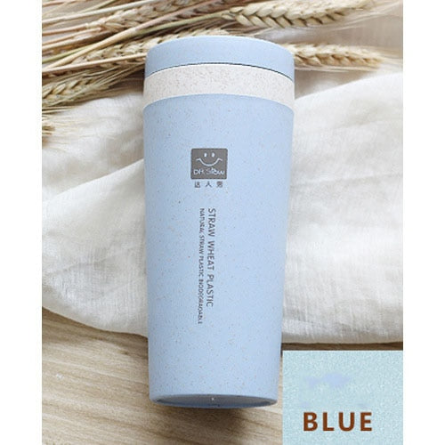 Blue Portable 300ml Thermos Bottle Healthy Plastic Wheat Fiber Cup Double Layer Thermal Mug Office Coffee Tea Water Bottle Travel Mug Thermos Flask