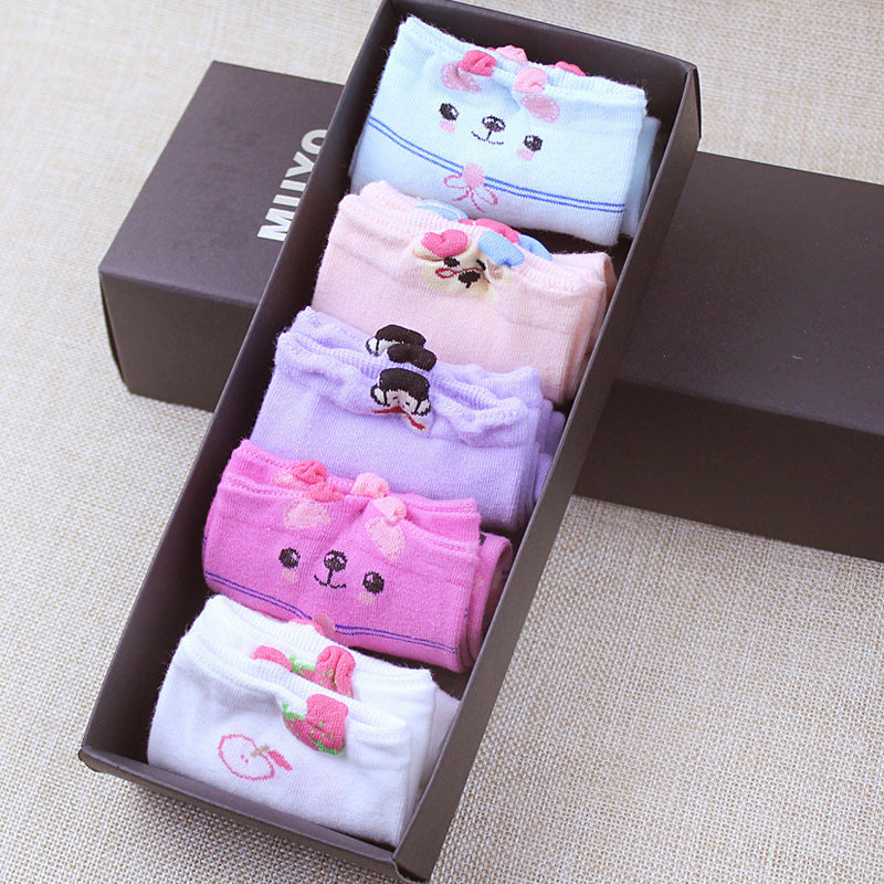 Blue Pink Lilac Red White Womans Cute Japanese Kawaii 5 Pairs Sock Slippers