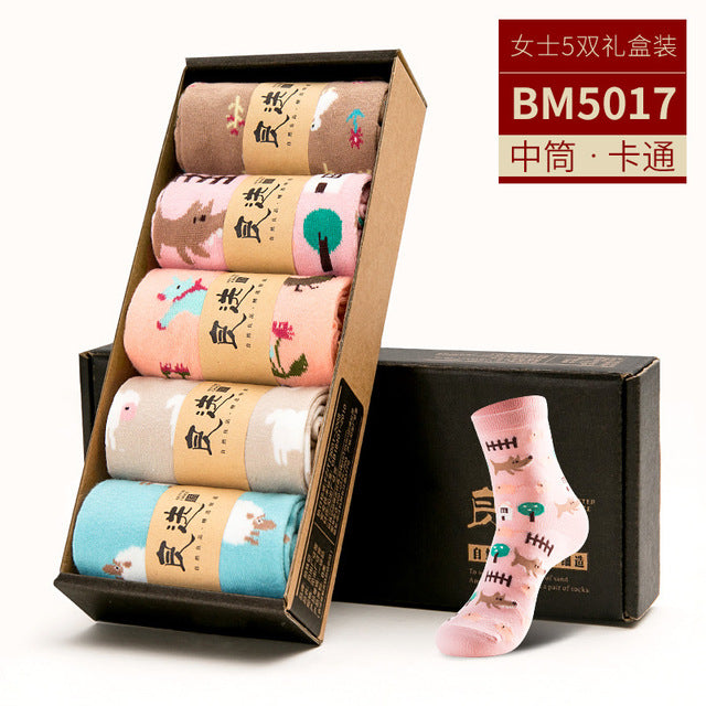 Korean Kawaii 5 Pairs Boat Sock Slippers