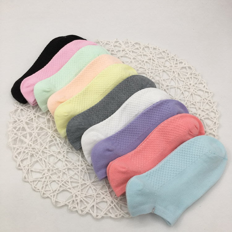 Womans Korean Kawaii Fashion 3 Pairs Candy Cotton Boat Sock Slippers