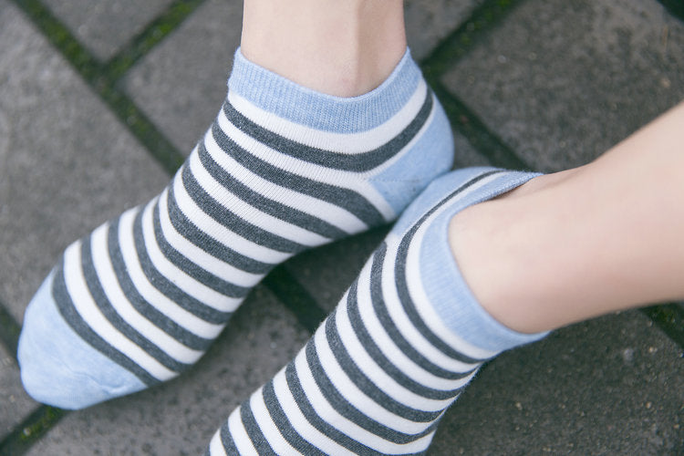Blue Womans Korean Kawaii 5 Pairs Cotton Striped Sock Slippers