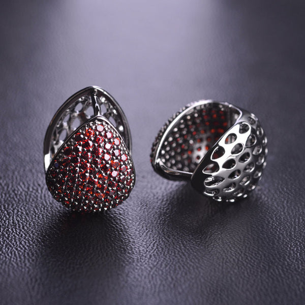 Kawaii Red Cubic Zirconia Heart Stud Earrings