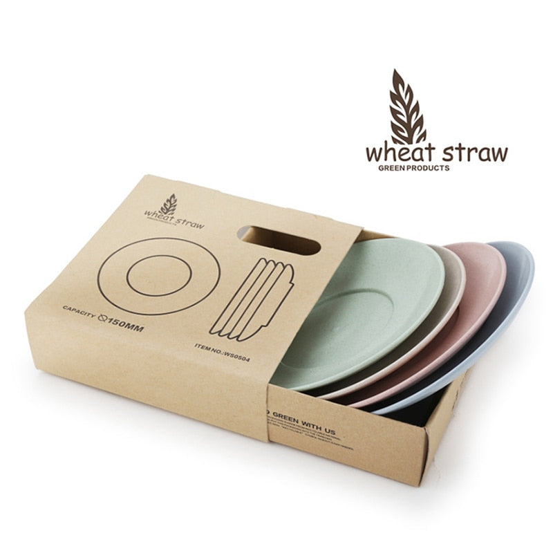 Set of 4 Eco-friendly Wheat Straw PP Dinner Plates 15cm Dishes for Cake Dessert Dinnerware Sets Tableware Accessories