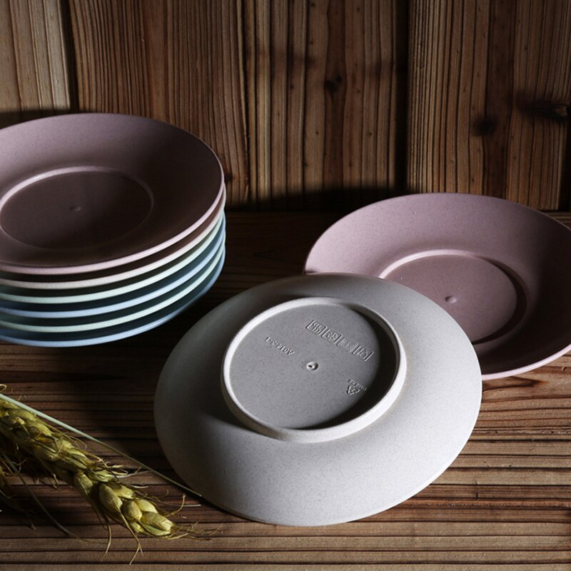 Set of 4 Eco-friendly Wheat Straw PP Dinner Plates 15cm Dishes for Cake Dessert Dinnerware Sets Tableware Accessories Trendy