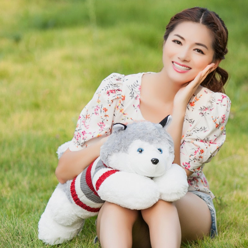 Trending 35cm Cute Husky Dog Plush Doll Toy Simulation Dogs with Clothes Stuffed Soft Animal Appease Dolls Toys for Baby Kids Birthday Gift