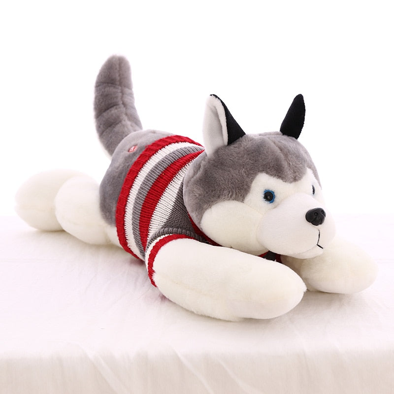 Elegant 35cm Cute Husky Dog Plush Doll Toy Simulation Dogs with Clothes Stuffed Soft Animal Appease Dolls Toys for Baby Kids Birthday Gift