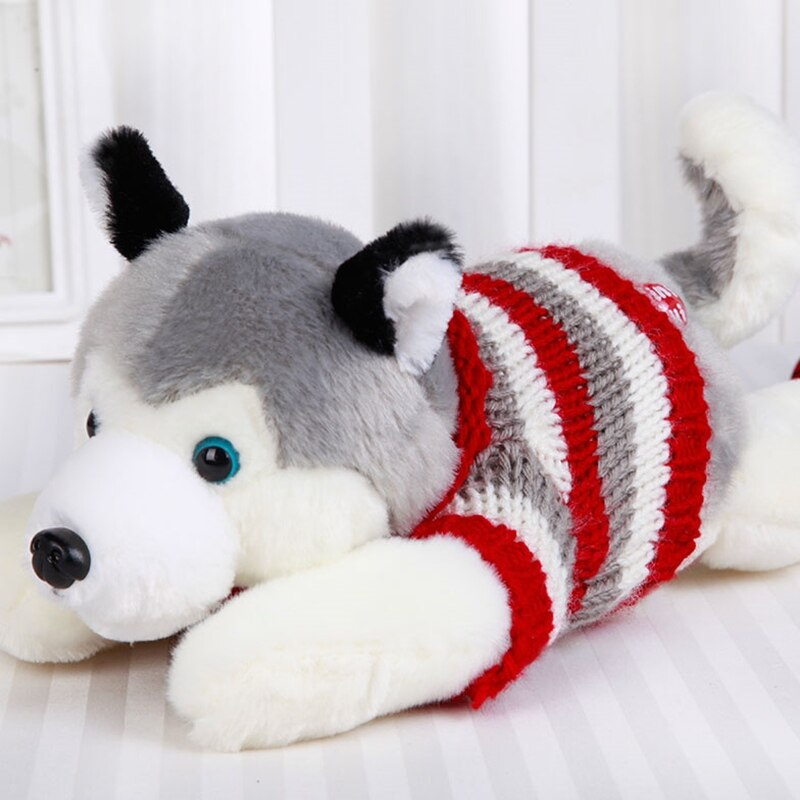 Trend 35cm Cute Husky Dog Plush Doll Toy Simulation Dogs with Stripe Top Clothes Stuffed Soft Animal Appease Dolls Toys for Baby Kids Birthday Gift