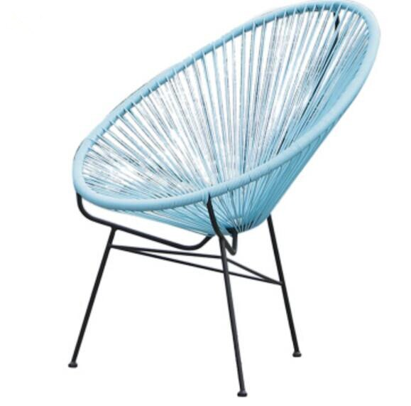 Trending Outdoor Leisure Sky Blue rattan chair Cane chairs Garden Chair Iron Courtyard Chair