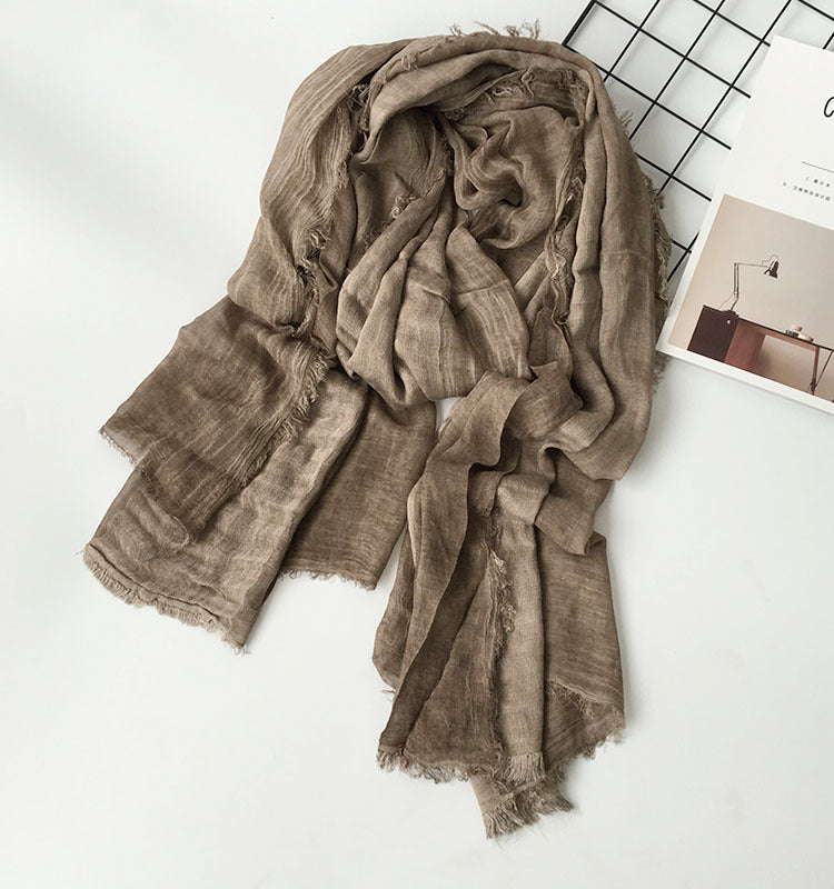 Japanese Light Brown Cotton Shawl Scarf Gender Neutral Unisex Linen Japan Scarves Scarfs Style