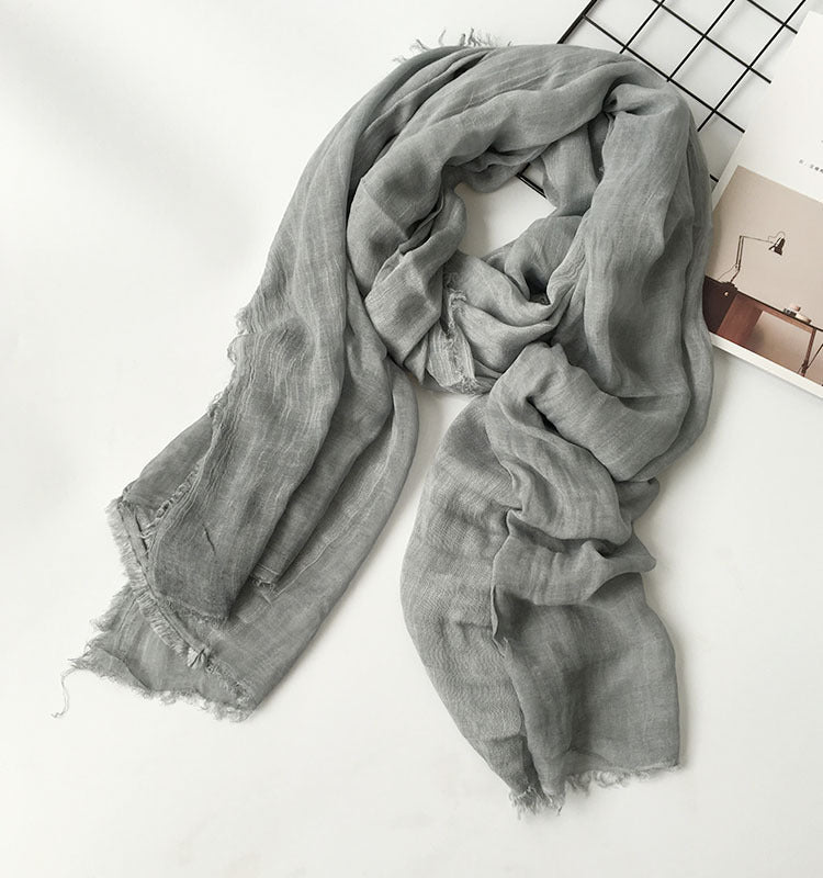 Japanese Gray / Grey Cotton Shawl Scarf Gender Neutral Unisex Linen Japan Scarves Scarfs Style