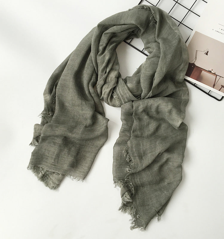 Japanese Army Green Cotton Shawl Scarf Gender Neutral Unisex Linen Japan Scarves Scarfs Style B