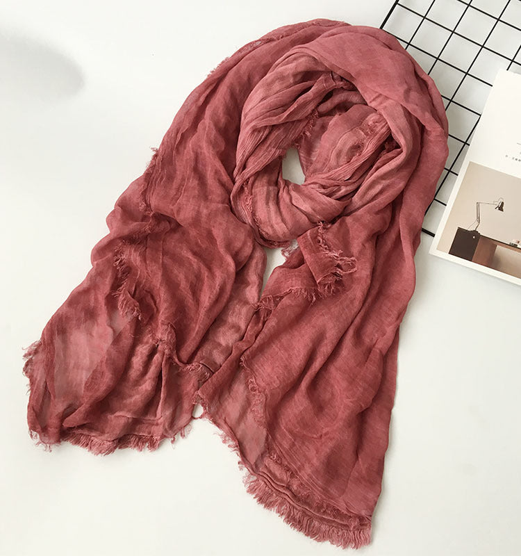 Japanese Red Cotton Shawl Scarf Gender Neutral Unisex Linen Japan Scarves Scarfs Style A