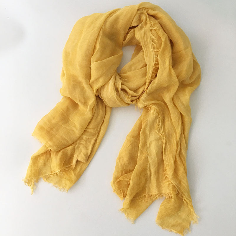 Japanese Yellow Cotton Shawl Scarf Gender Neutral Unisex Linen Japan Scarves Scarfs Style