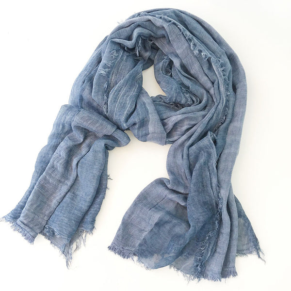 Japanese Blue Cotton Shawl Scarf Gender Neutral Unisex Linen Japan Scarves Scarfs Style