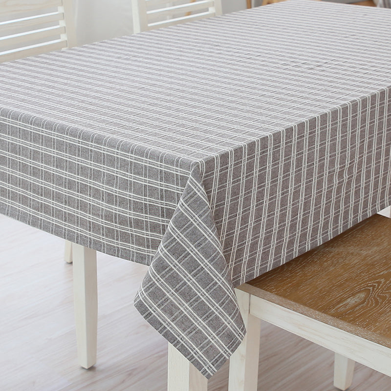 Japanese Brown Plaid Cotton Linen Tablecloth Japan Dining Room Tableware Home Decor Accessories Design J