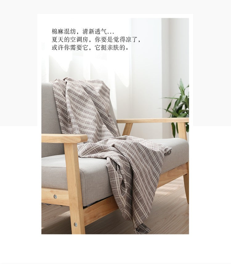 Japanese Brown Plaid Cotton Linen Tablecloth Japan Dining Room Tableware Home Decor Accessories Design C