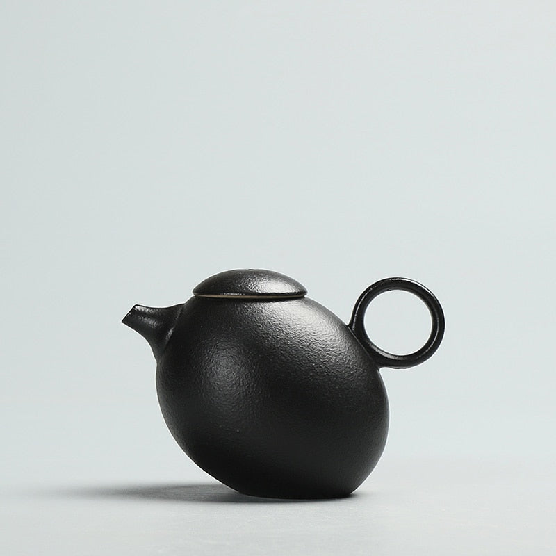Japanese Chinese Black Kung Fu Teapot Japan Ceramic Pottery Tea Pot JPN Style