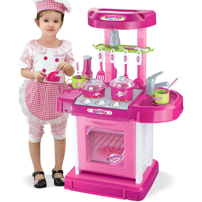 Pretend Play Pink Kitchen Set Child Toy Gender Neutral Boy Girl Kids Minature Portable Cooking Sets Style B