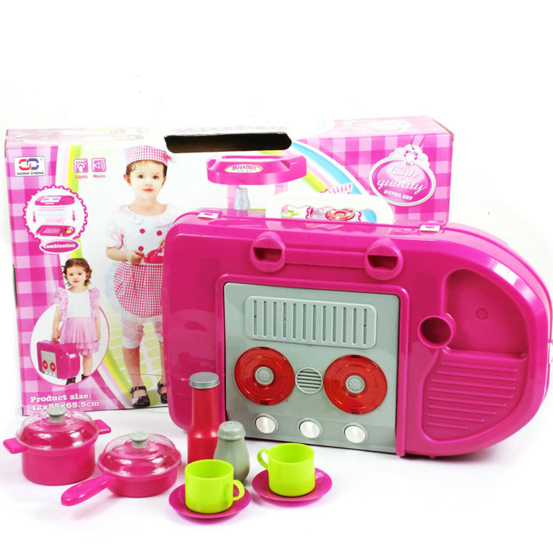 Pretend Play Pink Kitchen Set Child Toy Gender Neutral Boy Girl Kids Minature Portable Cooking Sets Style H