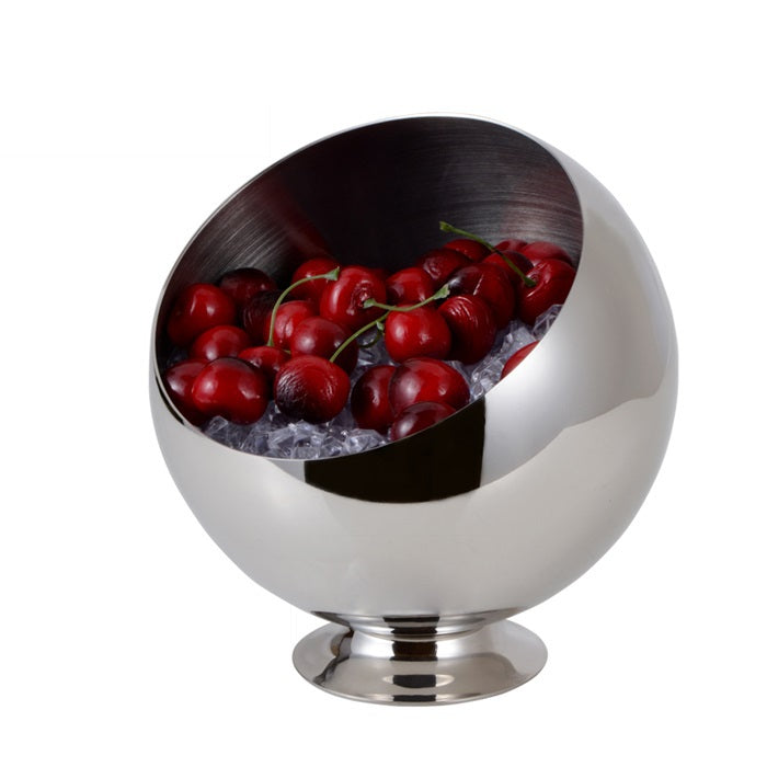 Stainless Steel Oblique Mouth Fruit Bowl Decorative Metal Kitchen Storage Organizer Canister Daily Use Tableware Vessel
