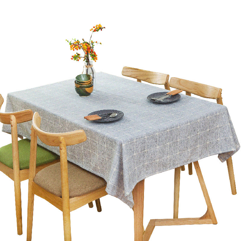 Japanese Blue Plaid Lattice Cotton Linen Tablecloth Japan Dining Room Tableware Home Decor Accessories Style Design V