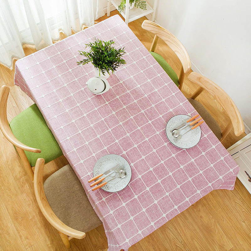 Japanese Pink Plaid Lattice Cotton Linen Tablecloth Japan Dining Room Tableware Home Decor Accessories Style Design T