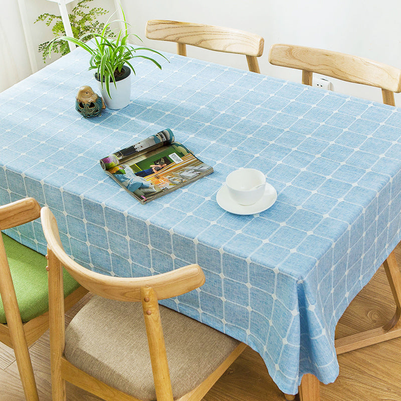 Japanese Blue Plaid Lattice Cotton Linen Tablecloth Japan Dining Room Tableware Home Decor Accessories Style Design F