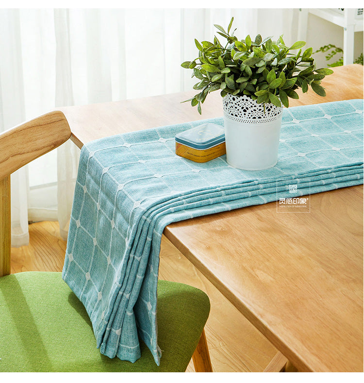 Japanese Blue Plaid Lattice Cotton Linen Tablecloth Japan Dining Room Tableware Home Decor Accessories Style Design D